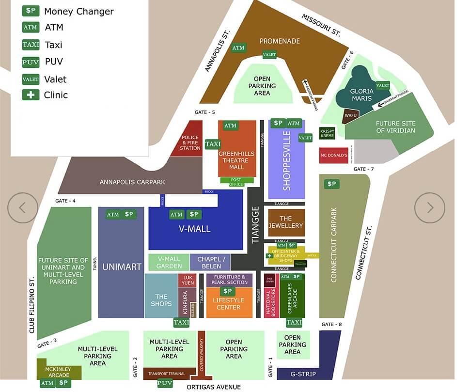 Map Greenhills Shopping Centerグリーンヒルズの見どころを解説します