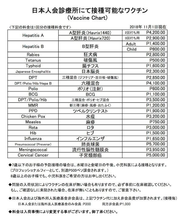マニラ日本人会診療所 ワクチン料金表-Vaccine-price-list