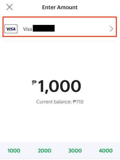 クレジットカードの項目をタップ